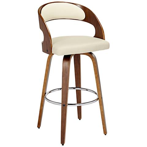 "Shelly 30"" Cream and Bent Wood Swivel Seat Barstool"