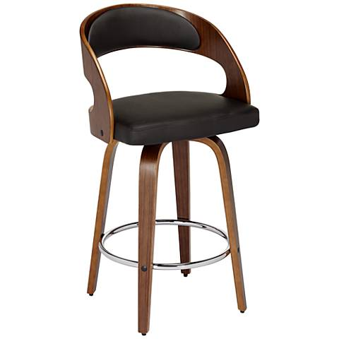 """Shelly 24"""" Brown Bent Wood Swivel Seat Counter Stool"""