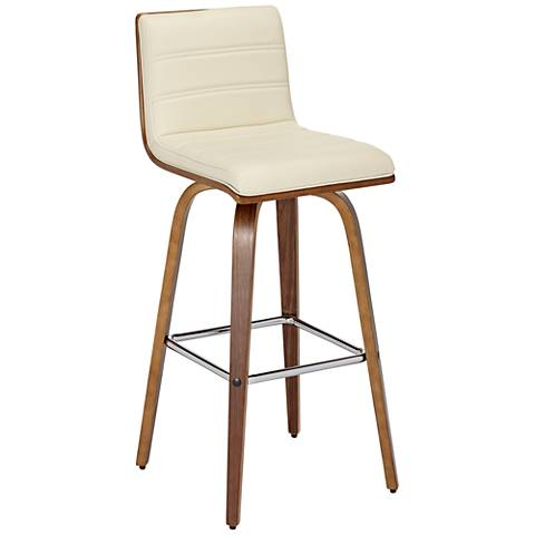 "Vienna 30"" Cream and Walnut Swivel Barstool"