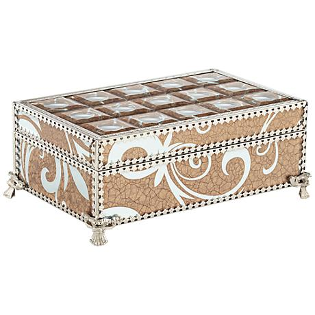 "Trish Silver Crackled Bronze 27"" Wide Mirrored Jewelry Box"