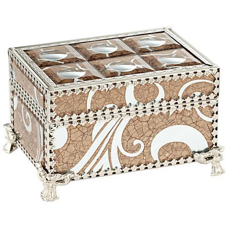 "Trish Silver Crackled Bronze 17"" Wide Mirrored Jewelry Box"