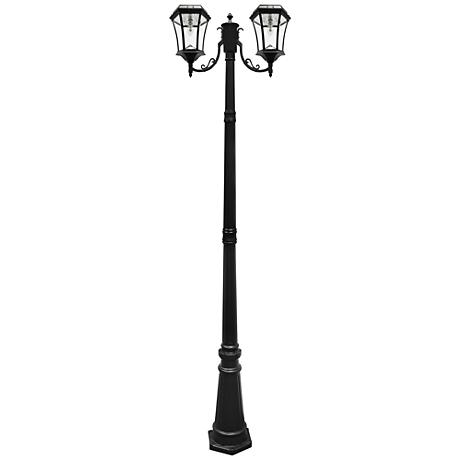 """Victorian Black 90""""H 2700K LED 2-Lamp Solar Post Light"""