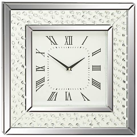 "Cielo Mirrored 20"" Square Wall Clock"