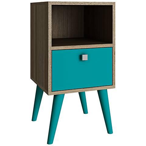 Abisko 1-Drawer Aqua and Oak Wood Frame Side Table