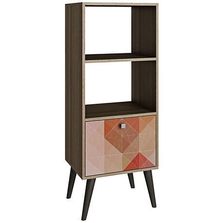 Sami Double 2-Shelf Multi-Color and Oak Frame Bookcase