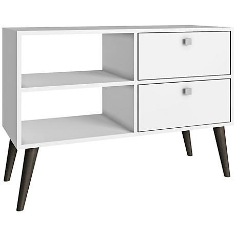 Dalarna 2-Drawer White Wood Frame TV Stand