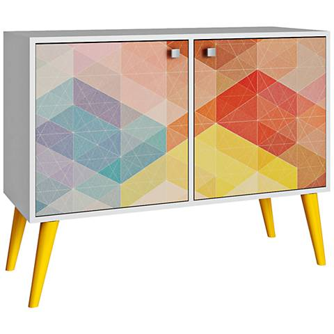 Avesta 2-Door Multi-Color and Yellow Feet Side Table