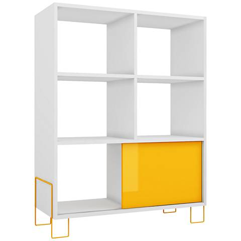 Boden 6-Shelf Yellow and White Frame Mid-High Bookcase