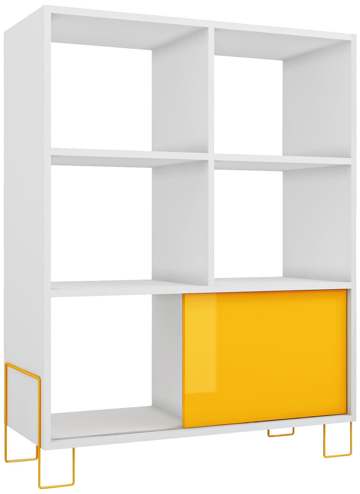 boden 6shelf yellow and white frame midhigh bookcase