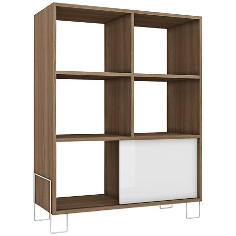Boden 6-Shelf White and Oak Frame Mid-High Bookcase