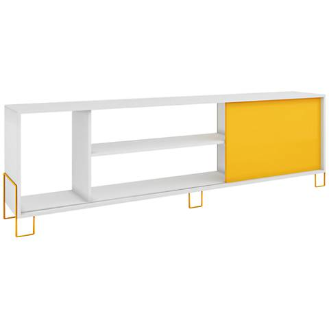 Nacka 1-Door Yellow and White Frame TV Stand