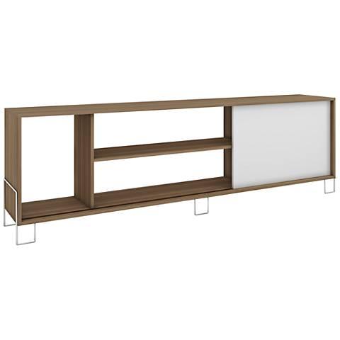 Nacka 1-Door White and Oak Wood Frame TV Stand