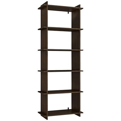 Gisborne 5-Shelf Tobacco Wood Bookcase
