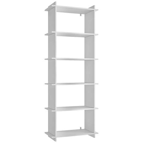 Gisborne 5-Shelf White Wood Bookcase