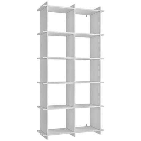 Gisborne 10-Shelf White Wood Bookcase