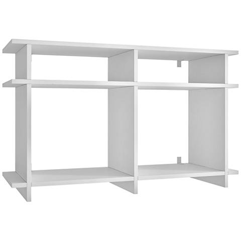 Wellington White Wood 4-Shelf TV Stand