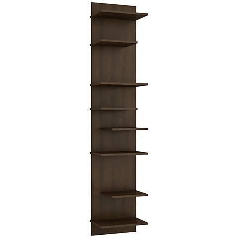 Nelson 8-Shelf Tobacco Wood Floating Bookcase
