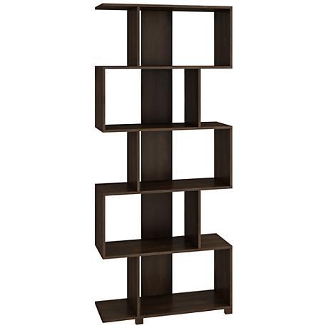 Petrolina 5-Shelf Tobacco Wood Z-Shaped Bookcase