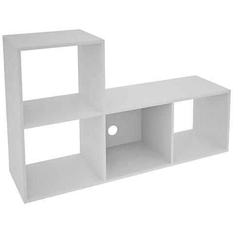 Lagarto 4-Shelf White Wood L-Shaped Cubbies Bookcase