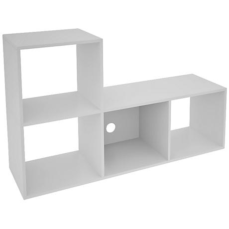 Lagarto 4-Shelf White Wood L-Shaped Cubbies Bookcase