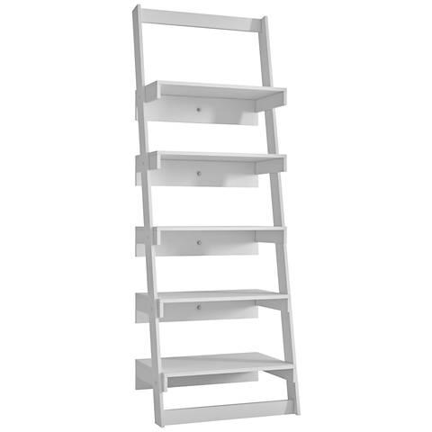 Carpina 5-Shelf White Wood Ladder Bookcase