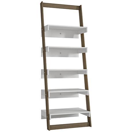 Carpina 5-Shelf White and Oak Wood Ladder Bookcase