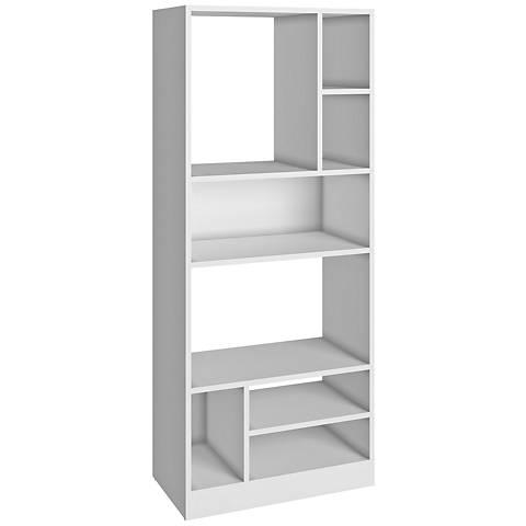 Valenca 8-Shelf White Wood Medium High Bookcase