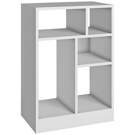 Valenca 5-Shelf White Wood Low Bookcase