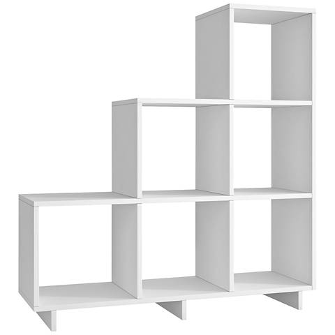 Cascavel 6-Shelf White Wood Stair Cubby Bookcase