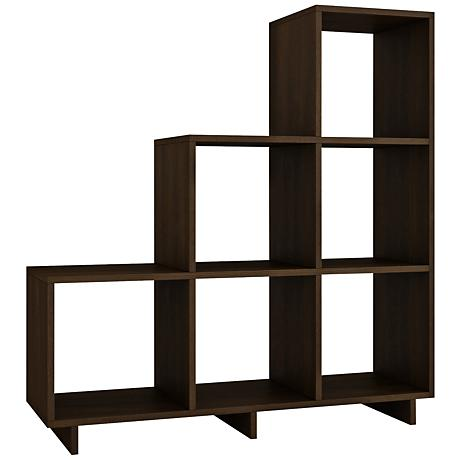 Cascavel 6-Shelf Tobacco Wood Stair Cubby Bookcase
