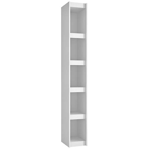 Parana 5-Shelf White Wood Small Bookcase