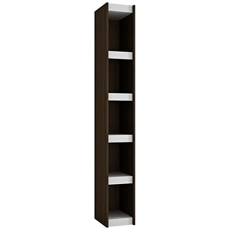 Parana 5-Shelf White and Tobacco Wood Small Bookcase
