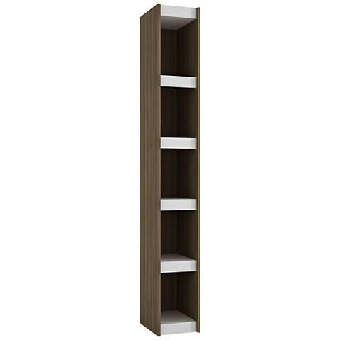 Parana 5-Shelf White and Oak Wood Small Bookcase