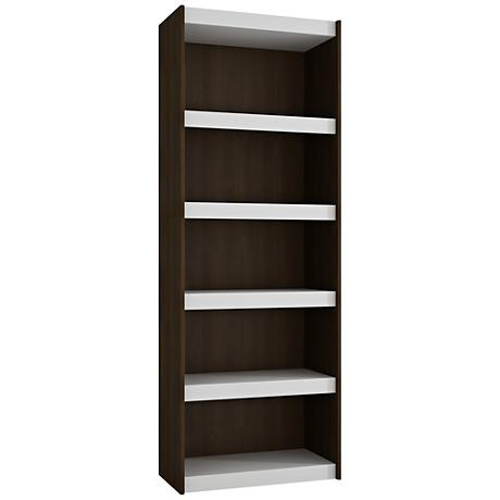 Parana 5-Shelf White and Tobacco Wood Large Bookcase