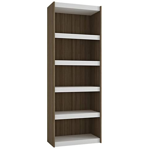 Parana 5-Shelf White and Oak Wood Large Bookcase