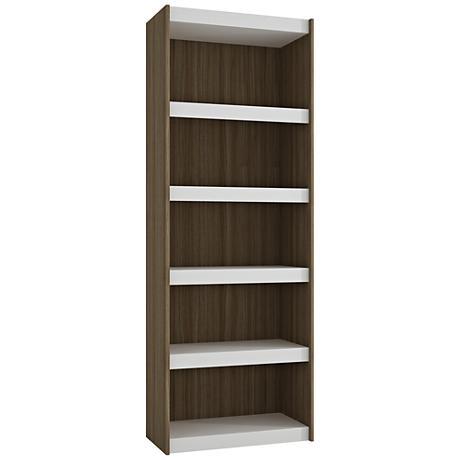 Parana 5-Shelf White and Oak Wood Large Bookcase