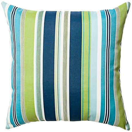 """Admiral Navy and Green Striped 18"""" Square Outdoor Pillow"""
