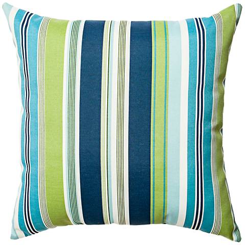 "Admiral Navy and Green Striped 22"" Square Outdoor Pillow"