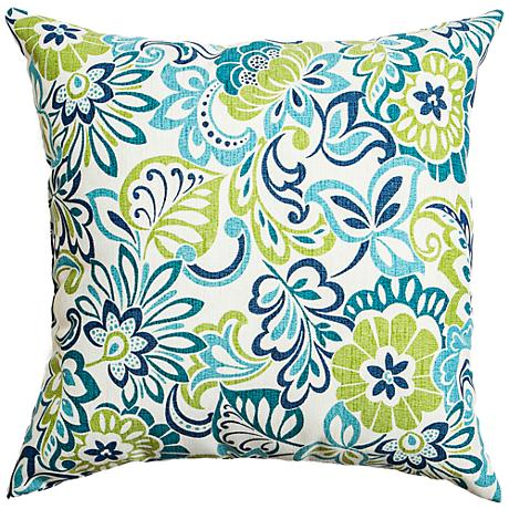 """Cervantes Green and Blue Floral 18"""" Square Outdoor Pillow"""