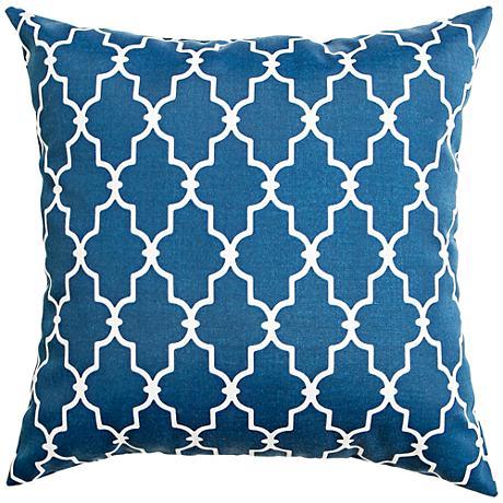 "Frisco Navy Geometric 18"" Square Outdoor Pillow"