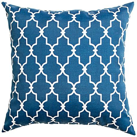 "Frisco Navy Geometric 20"" Square Outdoor Pillow"