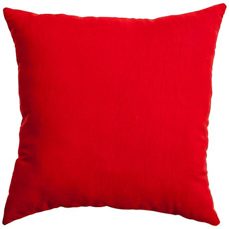 """Revere Bright Red 18"""" Square Outdoor Pillow"""
