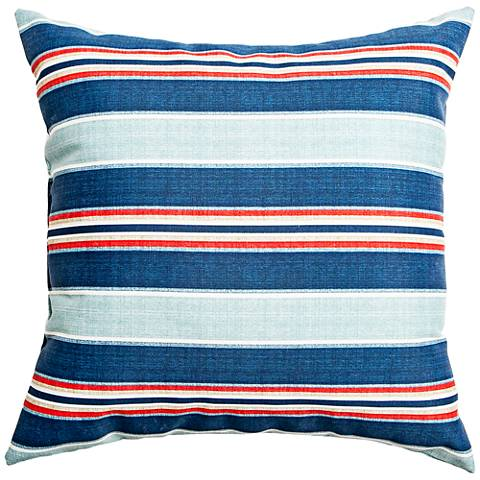 "Vista Slate Blue Striped 22"" Square Indoor-Outdoor Pillow"