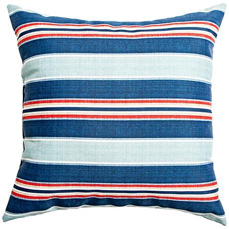 "Vista Slate Blue Striped 22"" Square Outdoor Pillow"