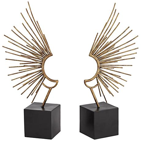 """Sun Ray Wings 19"""" High Decorative Sculpture Set of 2"""
