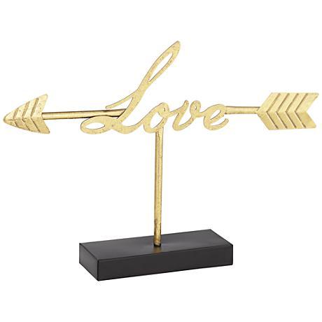 "Love Arrow 16"" Wide Vintage Gold Tabletop Sculpture"