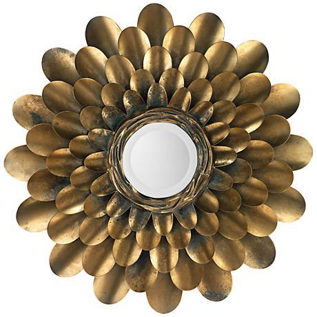 "Jamie Young Bouquet Antique Brass 36"" Round Wall Mirror"