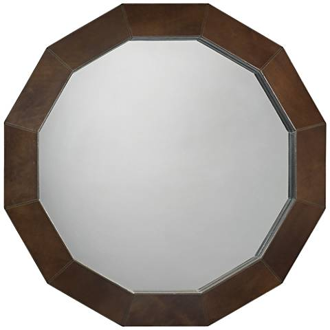 "Jamie Young Facet Olive Leather 36"" Round Wall Mirror"