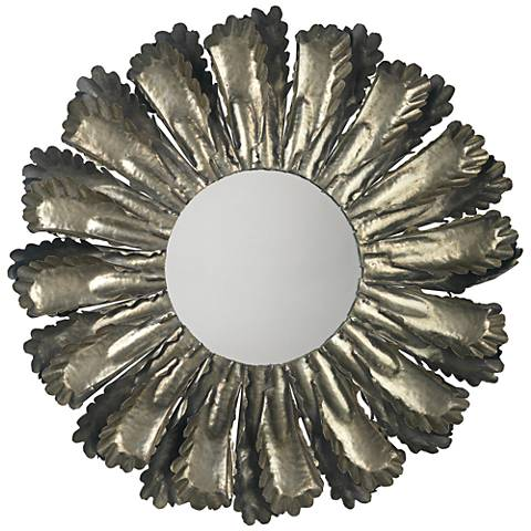 "Jamie Young Harvest Antique Silver 35"" Round Wall Mirror"