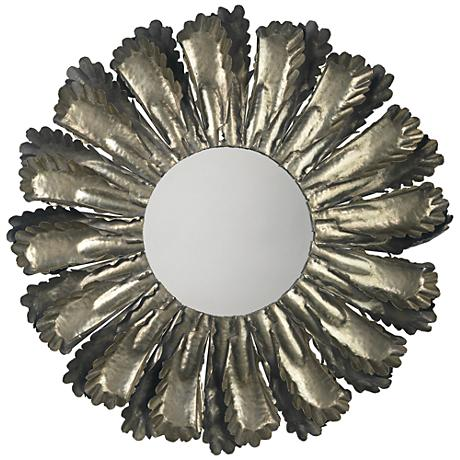 """Jamie Young Harvest Antique Silver 35"""" Round Wall Mirror"""